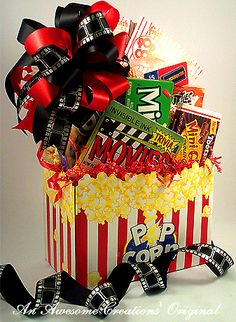 movie night gift basket...put one together to send to him at college