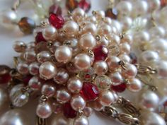Vintage Costume Jewelry - Magnificent Christian Dior 1961 Multi Strand Faux Pearl & Crystal Showpiece Necklace