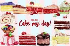 This is a nice set of Watercolor Cake Clipart Free Download that you should not miss if you are gonna do a sweet cake related project. This set includes 12 different cakes and pastries handpainted with brush and watercolor then assembled in one PSD file with 12×12 inch size. You can easily edit it and use each element on other projects. So check out and feel FREE to download!