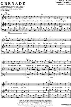 Grenade (Klavier + Gesang) Bruno Mars [PDF Noten] >>> KLICK auf die Noten um Reinzuhören <<< Noten und Playback zum Download für verschiedene Instrumente bei notendownload Blockflöte, Querflöte, Gesang, Keyboard, Klavier, Klarinette, Saxophon, Trompete, Posaune, Violine, Violoncello, E-Bass, und andere ...