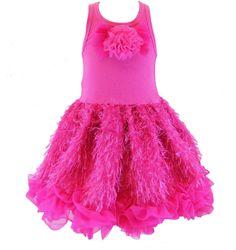 Posh Sparkly Fuchsia Eyelash Chiffon Pink Tutu Dress, 6M-5/6 USA Cupcakes Kisses #CupcakesKissesCouture #TutuDress