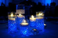 Blue Wedding Flowers blue and white candles Centerpieces Water Beads Centerpiece, Royal Blue Centerpieces, Candle Centerpieces, Wedding Centerpieces, Wedding Table, Diy Wedding, Wedding Reception, Wedding Flowers, Dream Wedding