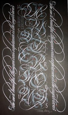 ✍ Sensual Calligraphy Scripts ✍ initials, typography styles and calligraphic art - Alphabet: Mike Kecseg. Copperplate piece.