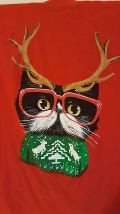 Christmas Holiday Ugly T-Shirt Ladies 3X Large Cat W/ Reindeer Antlers Glasses  #CAT #GraphicTee
