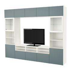 BESTÅ TV storage combination/glass doors - white/Valviken gray-turquoise clear glass, drawer runner, soft-closing - IKEA