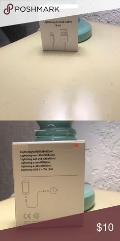Lightning to USB cable (2m) This is an Apple IPhone lightning cable. New, never been opened white cable. I bought to many on line with out knowing until I received my package.  I accept reasonable offers and can have it at the post office same or next day. Apple Accessories Phone Cases