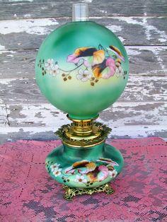 Gone With The Wind Oil Kerosene Lamp Green by Holliezhobbiez, $299.00