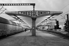 Train station in Thessaloniki, second largest city in Greece. Greece Photography, History Of Photography, Greece Tours, Greece Travel, World Heritage Sites, Athens, Places To See, Around The Worlds, Black And White