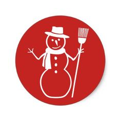 Winter Christmas Snowman Stickers - red gifts color style cyo diy personalize unique