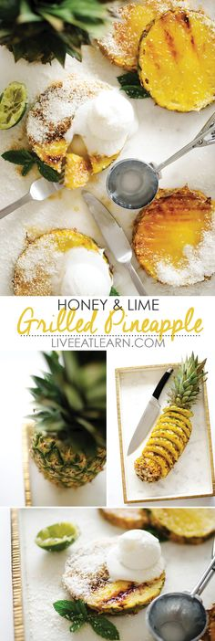 This Honey and Lime Grilled Pineapple recipe is a healthy and quick taste of the tropics. Whip it up for breakfast, snack, or dessert. Top it with coconut ice cream or Greek yogurt. // Live Eat Learn (Burn Fat With Ice) Healthy Dessert Recipes, Paleo Recipes, Sweet Recipes, Healthy Snacks, Cooking Recipes, Desserts, Honey Recipes, Diet Snacks, Healthy Eating