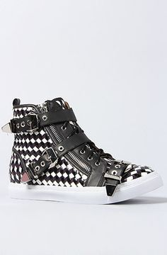 Jeffrey Campbell The Buckled Adams Sneaker in Black White and Silver Combo  in Black - Lyst 90eecb25d