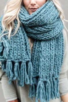 Scarves, Ponchos & Wrap Collection by Three Bird Nest - Desert Cozy Tassel Chunky Knitted Scarf – Teal Chunky Crochet Scarf, Chunky Knit Scarves, Oversized Scarf, Chunky Wool, Knit Crochet, Crochet Hats, Knitting Scarves, Chunky Knits, Hand Crochet