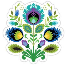 """Polish Folk Art Design: Teal"" Stickers by Barbara Pixton"