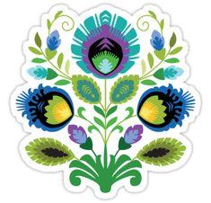 """""""Polish Folk Art Design: Teal"""" Stickers by Barbara Pixton Folk Art Flowers, Flower Art, Hungarian Tattoo, Polish Tattoos, Tattoo Illustrations, Illustration Art, Polish Wedding, Polish Folk Art, Pattern Art"""