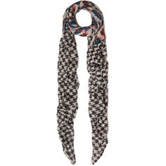 Me and Kashmiere Black and White Ikat Hound Cashmere Scar ($270) ❤ liked on Polyvore featuring accessories, scarves, houndstooth shawl, ikat scarves, woven scarves, patterned scarves and black and white scarves