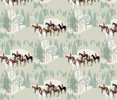 Equestrian Hunting Fabric - Run Fox Run! On White By Robinpickens - Horses Foxes Tress Cotton Fabric By The Yard With Spoonflower Equestrian Decor, Equestrian Style, Fabric Wallpaper, Custom Wallpaper, Perfect Wallpaper, Design 24, Gray Background, Fabric Swatches, Textured Walls