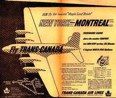 Vintage Tranns Canada Air Lines Ad - 1950 Travel Ads, Air Travel, Vintage Travel Posters, Vintage Airline, Canadian Airlines, Canada, Toronto, Holiday Posters, Advertising