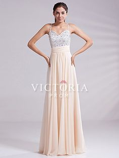 [US$116.99] Cream A-Line Floor Length Chiffon With Straps Open Back Prom Dress