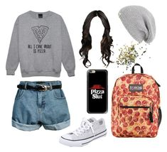 """""""i <3 pizza"""" by twyzter ❤ liked on Polyvore featuring UGG Australia, JanSport, Converse, Casetify and Topshop"""