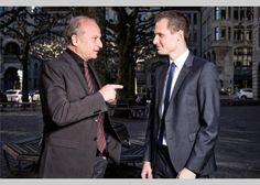 Tauschen «Arena»-Erfahrungen aus: Filippo Leutenegger (links) und Jonas Projer in Zürich. (2015)