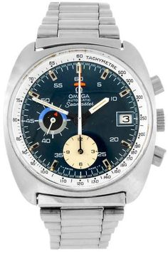 OMEGA - a gentleman's Seamaster chronograph bracelet watch. Numbered 176.007. Signed automatic calibre 1040. Blue dial with hour markers, recorder dials to six and nine, date aperture to three. Calibrated inner bezel, stainless steel case fitted to a stainless steel bracelet with folding clasp. 38mm.
