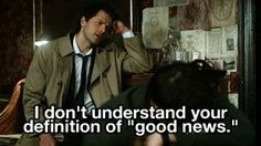 "[GIF] Cas doesn't understand Bobby's definition of ""good news..."" And Dean is not amused, LOL. I love Dean's reaction! - 5x21 Two Minutes to Midnight"
