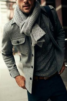 Men's Grey Pea Coat, Grey Scarf, Grey Crew-neck Sweater, Navy Chinos, and Brown Leather Belt Fashion Mode, Look Fashion, Winter Fashion, Fashion 2015, Fashion Ideas, Black Men's Fashion, Fashion Updates, Fashion Details, Fashion Addict