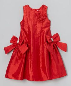 Take a look at this Red Rosette Bow Princess Dress - Girls by Donita on #zulily today!