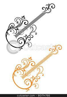 Scroll guitar clipart