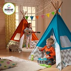 KidKraft Chevron Teepee - Teach your child to embrace the spirit of American heritage, with the KidKraft Chevron Teepee . Any day is a great day for camping out inside. Play Teepee, Teepee Kids, Teepee Tent, Teepees, Teepee Pattern, Safe Games, Canvas Teepee, Childrens Teepee, Indoor Playhouse
