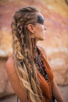 Made to Order -- Brass Hoop Earrings / Suede Lace / Leather / Boho / Jewelry / Rooster Feathers / # viking Braids men Brass Hoop Earrings / Burning Man / Festival Jewelry / Leather Jewelry / Boho Style / Hippie / Bohemian Earrings / Dangle Earrings Box Braids Hairstyles, Pirate Hairstyles, Viking Hairstyles, Updo Hairstyle, Viking Haircut, Prom Hairstyles, Hairstyle Ideas, Rocker Hairstyles, Boho Hairstyles Medium
