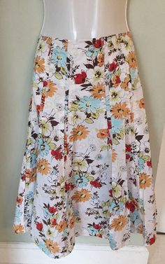 Cabi Womens 8 M Medium White Multi-color Floral Cotton Gored Skirt A-Line #Cabi #ALine