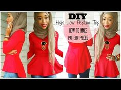 ▶ DIY High Low Peplum Top   Tutorial   How to Make a Pattern - YouTube step by step Videotutorial