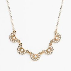 #LCLaurenConrad Gold Tone Simulated Pearl and Simulated Crystal Scalloped Necklace