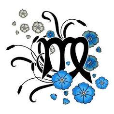 Virgo Zodiac Tattoos | Virgo with blue flowers tattoo