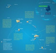 Les Marquises / The Marquesas Islands, map created by Hugues Piolet for GEO Magazine