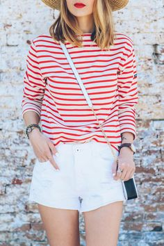 You can't go wrong with stripes and cutoffs. Add an extra pop of color with a bright red lip.