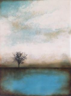 """Lake Solitude 12x16"""" Encaustic"""