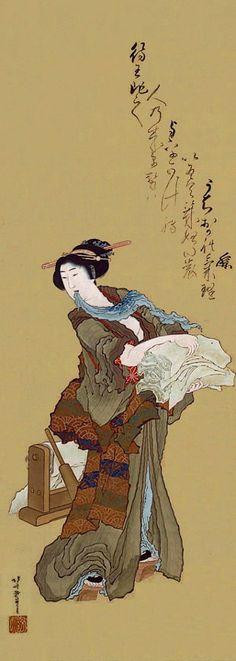 Katsushika Hokusai  Title  A Beauty Beating Cloth