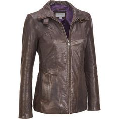 Shell: Genuine leatherLining: 100% polyesterFull-zip front; shirt collar converts to a stand-up design with a tab and snap closureOpen hand pockets with decorative topstitchingSnap tabs on back waist; gathering above back hemFully lined interiorSend to professional leather cleaner only