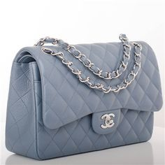 Chanel Blue Quilted Caviar Jumbo Classic 2.55 Double Flap Bag | 1stdibs.com