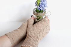 Knitted wool natural beige fingerless mittens, Lace beige mittens, Fingerless gloves, Beige lace mittens, Taupe wool gloves, Boho mittens