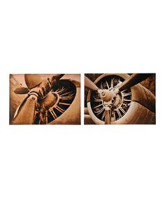 Sepia Airplane Gallery-Wrapped Canvas Set #zulily #zulilyfinds