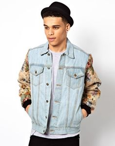 Image 1 of Reclaimed Vintage Denim Jacket with Floral Tapesty Sleeves