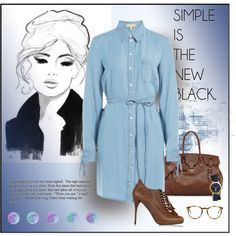Denim Business by michelletheaflack on Polyvore featuring Michael Kors, Balmain, Ralph Lauren, Tory Burch, The Row and collared
