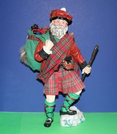 Midwest of Cannon Falls Scottish Santa figurine in Plaid Kilt w/ Terrier Puppy Tartan Christmas, Christmas Ideas, Cannon Falls, Red Trousers, Santa Figurines, Santa Suits, Santa Claus Is Coming To Town, Black Leather Belt, Scottie Dog