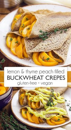 Lemon thyme infused California cling peaches make a great filling for soft buckwheat crepes – comforting gluten-free low sugar dessert / vegan breakfast. Buckwheat Crepes, Vegan Crepes, Gluten Free Crepes, Vegan Gluten Free, Savory Pancakes, Vegan Pancakes, Raw Dessert Recipes, Raw Food Recipes, Vegetarian Recipes