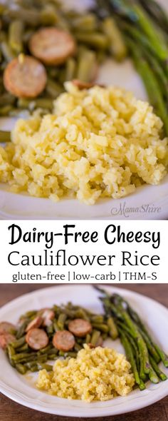 Quick and easy Dairy-free Cheesy Cauliflower Rice. This savory cauli-rice is a great side dish to add to your meals. Gluten-free, Low-carb, THM-S