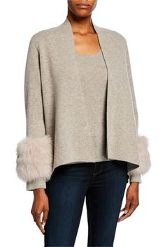 Neiman Marcus Cashmere Collection Open-Front Cashmere Cardigan with Fur Poncho Sweater, Cashmere Cardigan, See By Chloe, Double Knitting, Jacket Dress, Neiman Marcus, Clothes For Women, My Style, Long Sleeve