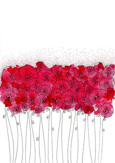 Original Watercolor Painting Bunch of Red by EnchantedCrayons, $15.00